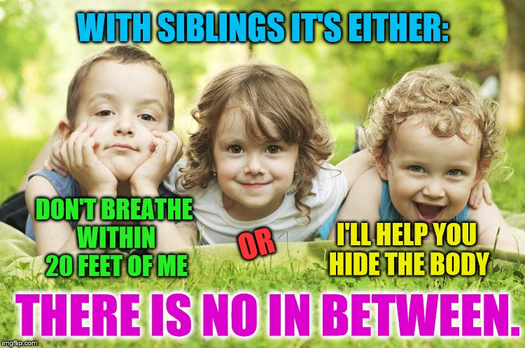 Y'all with siblings know this lol | WITH SIBLINGS IT'S EITHER: DON'T BREATHE WITHIN 20 FEET OF ME OR I'LL HELP YOU HIDE THE BODY THERE IS NO IN BETWEEN. | image tagged in siblings | made w/ Imgflip meme maker