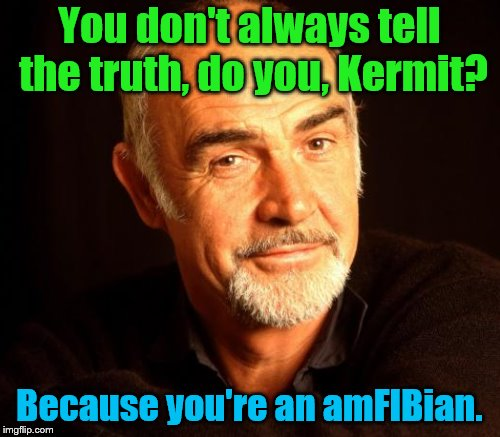 You don't always tell the truth, do you, Kermit? Because you're an amFIBian. | made w/ Imgflip meme maker