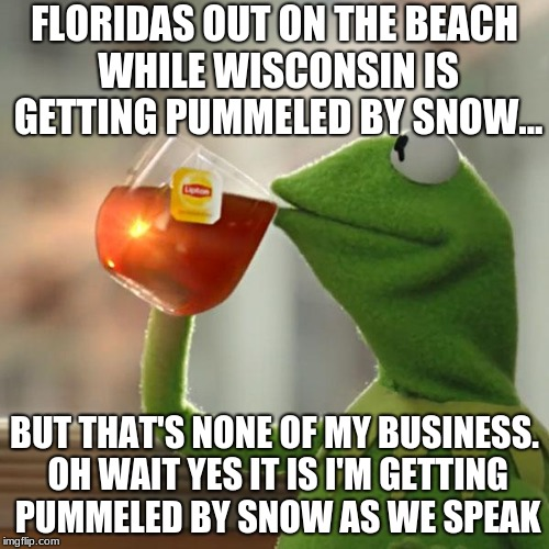 But Thats None Of My Business Meme | FLORIDAS OUT ON THE BEACH WHILE WISCONSIN IS GETTING PUMMELED BY SNOW... BUT THAT'S NONE OF MY BUSINESS. OH WAIT YES IT IS I'M GETTING PUMME | image tagged in memes,but thats none of my business,kermit the frog | made w/ Imgflip meme maker