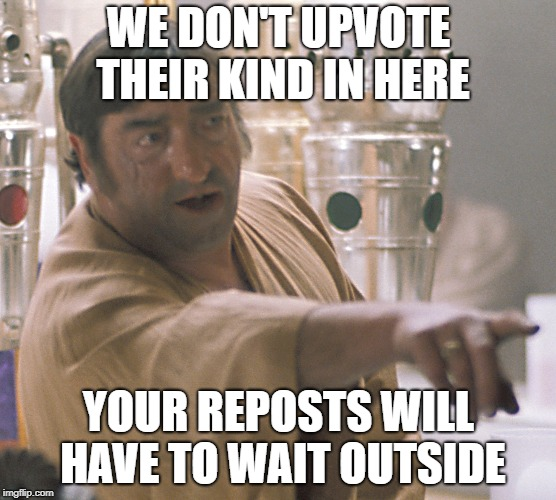WE DON'T UPVOTE THEIR KIND IN HERE YOUR REPOSTS WILL HAVE TO WAIT OUTSIDE | made w/ Imgflip meme maker