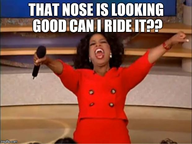 Oprah You Get A Meme | THAT NOSE IS LOOKING GOOD CAN I RIDE IT?? | image tagged in memes,oprah you get a | made w/ Imgflip meme maker