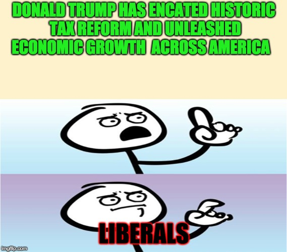If in doubt, use facts | DONALD TRUMP HAS ENCATED HISTORIC TAX REFORM AND UNLEASHED ECONOMIC GROWTH  ACROSS AMERICA LIBERALS | image tagged in finger raising guy,cant argue with that,stupid liberals,speechless pointing guy,memes,funny | made w/ Imgflip meme maker