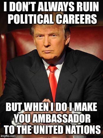 Serious Trump | I DON'T ALWAYS RUIN POLITICAL CAREERS BUT WHEN I DO I MAKE YOU AMBASSADOR TO THE UNITED NATIONS | image tagged in serious trump,nikki haley,i dont always,political meme | made w/ Imgflip meme maker