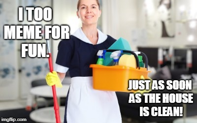 Maid | I TOO MEME FOR FUN. JUST AS SOON AS THE HOUSE IS CLEAN! | image tagged in maid | made w/ Imgflip meme maker