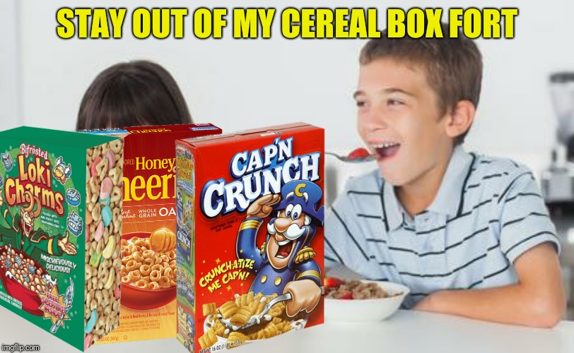 STAY OUT OF MY CEREAL BOX FORT | made w/ Imgflip meme maker