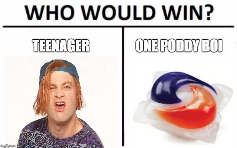 Who Would Win? Meme | TEENAGER ONE PODDY BOI | image tagged in memes,who would win | made w/ Imgflip meme maker