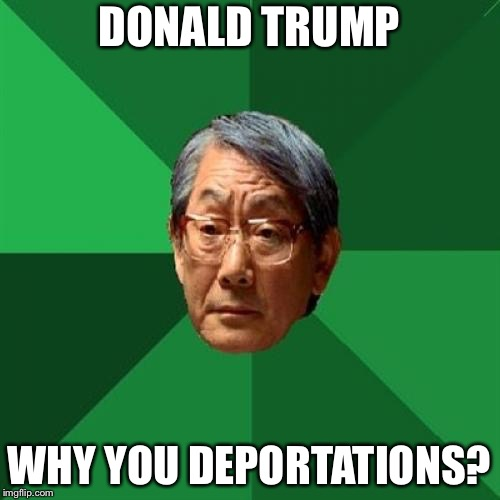 High Expectations Asian Father Meme | DONALD TRUMP WHY YOU DEPORTATIONS? | image tagged in memes,high expectations asian father,bad pun,bad puns,bad puns are bad | made w/ Imgflip meme maker