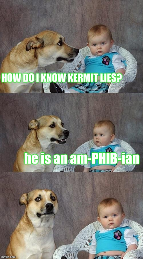 Dad Joke Dog Meme | HOW DO I KNOW KERMIT LIES? he is an am-PHIB-ian | image tagged in memes,dad joke dog | made w/ Imgflip meme maker