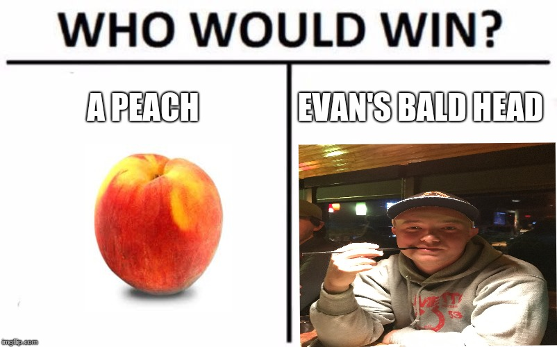 Evan | A PEACH EVAN'S BALD HEAD | image tagged in memes,who would win | made w/ Imgflip meme maker