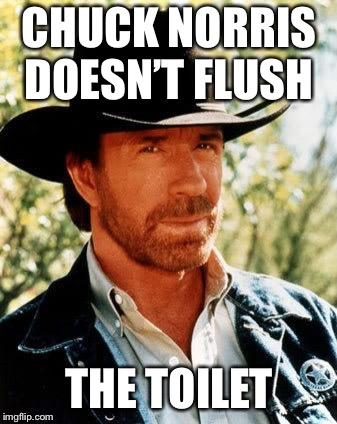Chuck Norris Meme | CHUCK NORRIS DOESN'T FLUSH THE TOILET | image tagged in memes,chuck norris | made w/ Imgflip meme maker