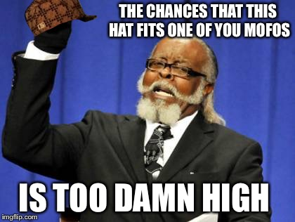 Too Damn High Meme | THE CHANCES THAT THIS HAT FITS ONE OF YOU MOFOS IS TOO DAMN HIGH | image tagged in memes,too damn high,scumbag | made w/ Imgflip meme maker
