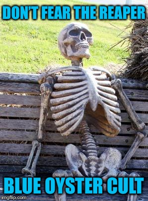Waiting Skeleton Meme | DON'T FEAR THE REAPER BLUE OYSTER CULT | image tagged in memes,waiting skeleton | made w/ Imgflip meme maker