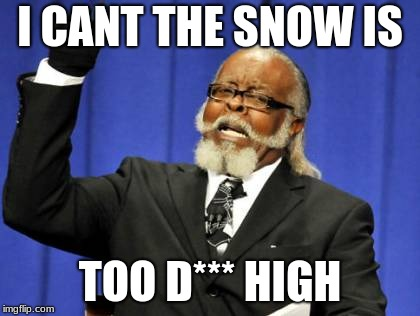 I CANT THE SNOW IS TOO D*** HIGH | image tagged in memes,too damn high | made w/ Imgflip meme maker