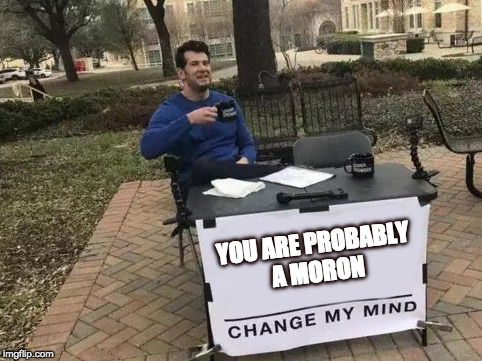 Change My Mind | YOU ARE PROBABLY A MORON | image tagged in change my mind | made w/ Imgflip meme maker
