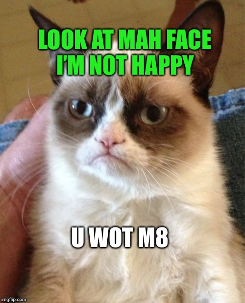 Grumpy Cat Meme | U WOT M8 LOOK AT MAH FACE I'M NOT HAPPY | image tagged in memes,grumpy cat | made w/ Imgflip meme maker