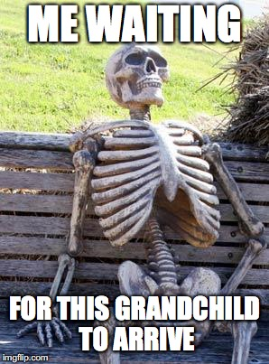 Waiting Skeleton | ME WAITING FOR THIS GRANDCHILD TO ARRIVE | image tagged in memes,waiting skeleton | made w/ Imgflip meme maker