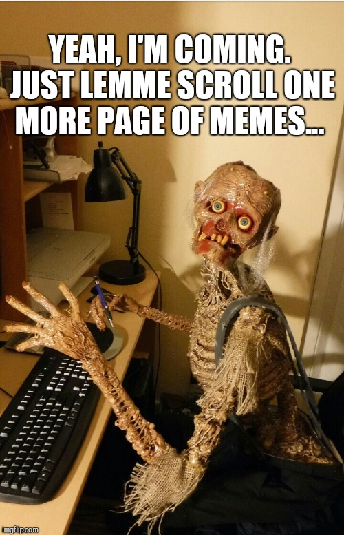 Just... One... More... Page... | YEAH, I'M COMING. JUST LEMME SCROLL ONE MORE PAGE OF MEMES... | image tagged in jbmemegeek,waiting skeleton,skeleton,meme addict,memes | made w/ Imgflip meme maker