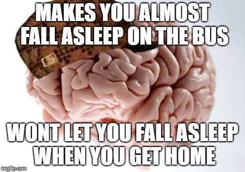 Scumbag Brain | MAKES YOU ALMOST FALL ASLEEP ON THE BUS WONT LET YOU FALL ASLEEP WHEN YOU GET HOME | image tagged in memes,scumbag brain | made w/ Imgflip meme maker