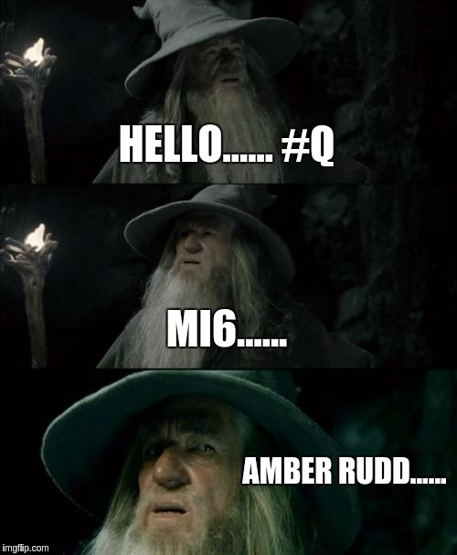 Confused Gandalf Meme | HELLO...... #Q MI6...... AMBER RUDD...... | image tagged in memes,confused gandalf | made w/ Imgflip meme maker