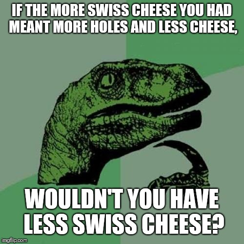 Philosoraptor Meme | IF THE MORE SWISS CHEESE YOU HAD MEANT MORE HOLES AND LESS CHEESE, WOULDN'T YOU HAVE LESS SWISS CHEESE? | image tagged in memes,philosoraptor | made w/ Imgflip meme maker