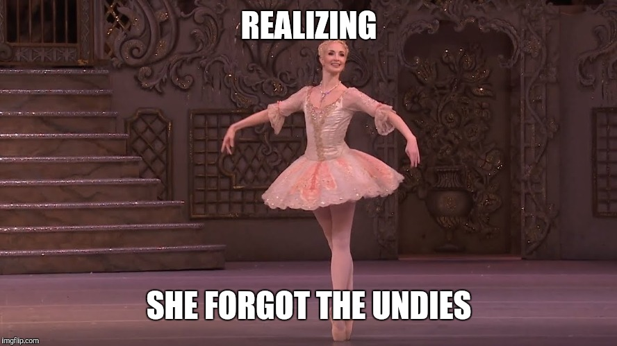 REALIZING SHE FORGOT THE UNDIES | image tagged in ballet meme | made w/ Imgflip meme maker