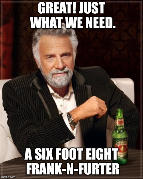 The Most Interesting Man In The World Meme | GREAT! JUST WHAT WE NEED. A SIX FOOT EIGHT FRANK-N-FURTER | image tagged in memes,the most interesting man in the world | made w/ Imgflip meme maker
