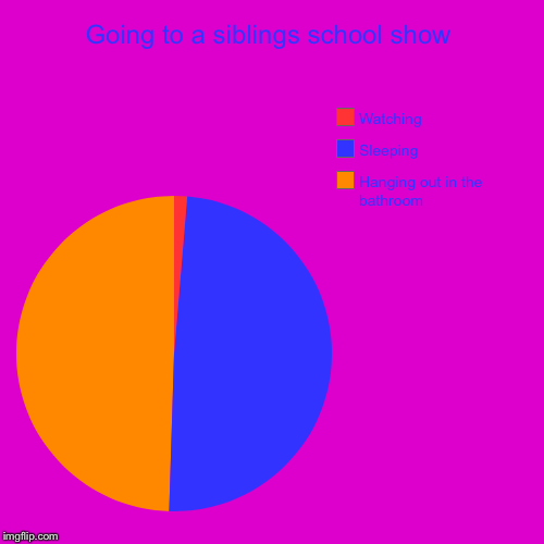 Going to a siblings school show | Hanging out in the bathroom, Sleeping, Watching | image tagged in funny,pie charts | made w/ Imgflip pie chart maker
