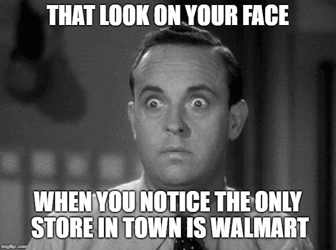 shocked face | THAT LOOK ON YOUR FACE WHEN YOU NOTICE THE ONLY STORE IN TOWN IS WALMART | image tagged in shocked face | made w/ Imgflip meme maker
