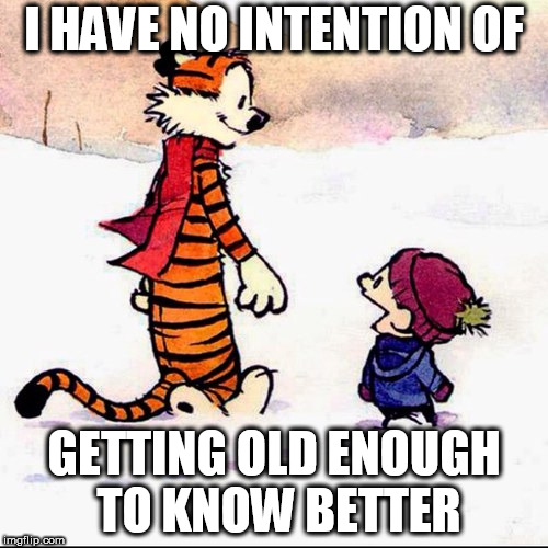 Calvin and hobbs | I HAVE NO INTENTION OF GETTING OLD ENOUGH TO KNOW BETTER | image tagged in calvin and hobbs | made w/ Imgflip meme maker