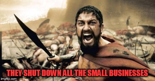 Sparta Leonidas Meme | THEY SHUT DOWN ALL THE SMALL BUSINESSES | image tagged in memes,sparta leonidas | made w/ Imgflip meme maker