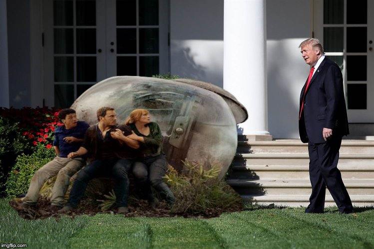 Hiding from the T-Rump | image tagged in trump,jurrasic park,chris pratt,jurassic world | made w/ Imgflip meme maker
