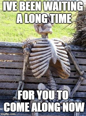 Waiting Skeleton Meme | IVE BEEN WAITING A LONG TIME FOR YOU TO COME ALONG NOW | image tagged in memes,waiting skeleton | made w/ Imgflip meme maker