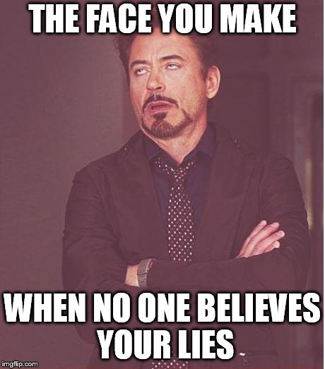 Face You Make Robert Downey Jr Meme | THE FACE YOU MAKE WHEN NO ONE BELIEVES YOUR LIES | image tagged in memes,face you make robert downey jr | made w/ Imgflip meme maker