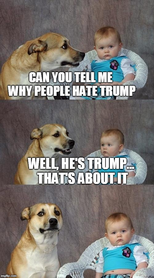 Dad Joke Dog | CAN YOU TELL ME WHY PEOPLE HATE TRUMP WELL, HE'S TRUMP... THAT'S ABOUT IT | image tagged in memes,dad joke dog | made w/ Imgflip meme maker
