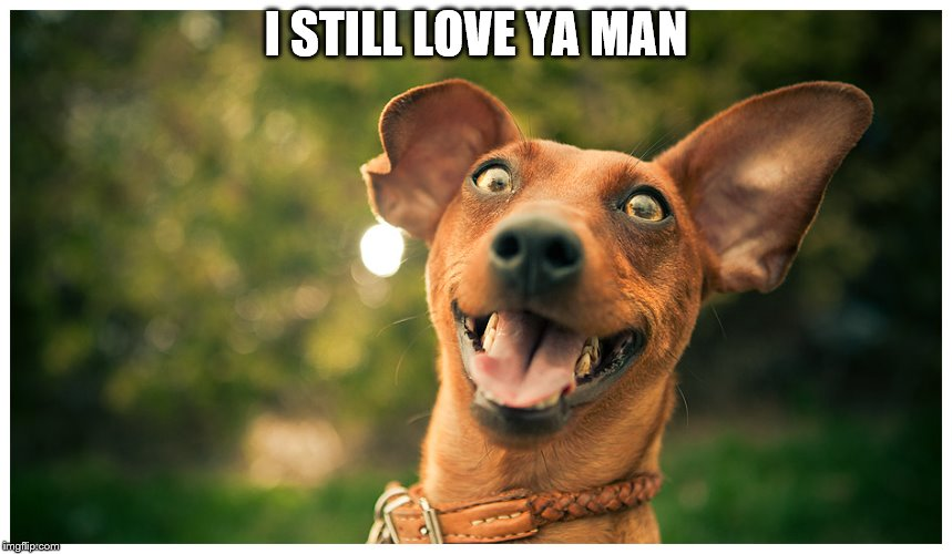crazy mutt | I STILL LOVE YA MAN | image tagged in crazy mutt | made w/ Imgflip meme maker