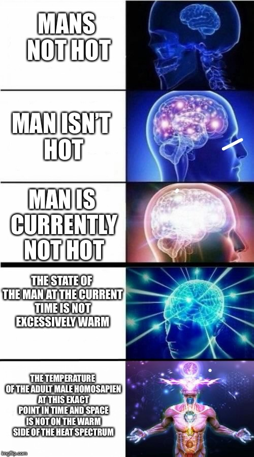 Expanding Brain Meme | MANS NOT HOT MAN ISN'T HOT MAN IS CURRENTLY NOT HOT THE STATE OF THE MAN AT THE CURRENT TIME IS NOT EXCESSIVELY WARM THE TEMPERATURE OF THE  | image tagged in expanding brain meme,expanding brain,mans not hot,memes,funny | made w/ Imgflip meme maker