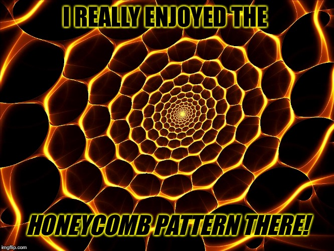 I REALLY ENJOYED THE HONEYCOMB PATTERN THERE! | made w/ Imgflip meme maker
