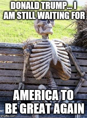 Waiting Skeleton | DONALD TRUMP... I AM STILL WAITING FOR AMERICA TO BE GREAT AGAIN | image tagged in memes,waiting skeleton | made w/ Imgflip meme maker