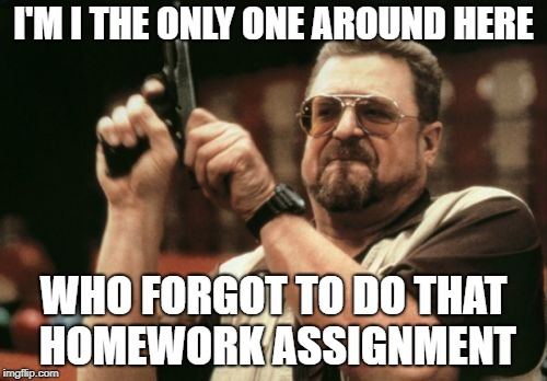 procrastinator's desperation  | I'M I THE ONLY ONE AROUND HERE WHO FORGOT TO DO THAT HOMEWORK ASSIGNMENT | image tagged in memes,am i the only one around here,school,funny homework | made w/ Imgflip meme maker