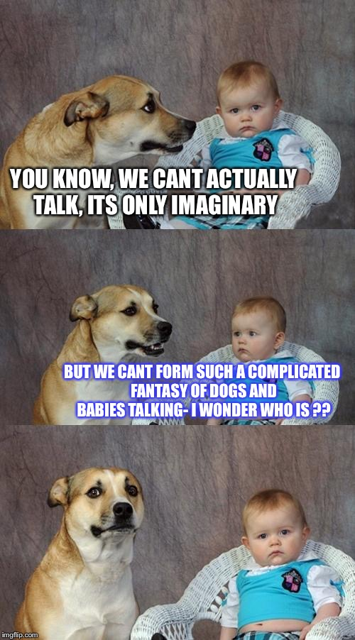 21 (metaphysically philosophicative with minor undercurrents of religion inspired self contemplative ideation) | YOU KNOW, WE CANT ACTUALLY TALK, ITS ONLY IMAGINARY BUT WE CANT FORM SUCH A COMPLICATED FANTASY OF DOGS AND BABIES TALKING- I WONDER WHO IS  | image tagged in memes,dad joke dog,datlinx,yung mung | made w/ Imgflip meme maker