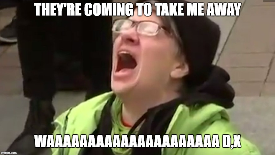 Screaming Liberal  | THEY'RE COMING TO TAKE ME AWAY WAAAAAAAAAAAAAAAAAAAAA D,X | image tagged in screaming liberal,novelty | made w/ Imgflip meme maker