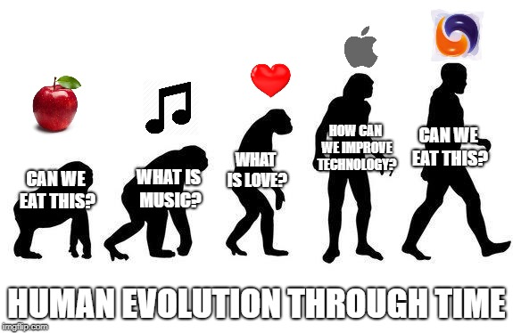 Human Evolution | CAN WE EAT THIS? HUMAN EVOLUTION THROUGH TIME WHAT IS MUSIC? WHAT IS LOVE? HOW CAN WE IMPROVE TECHNOLOGY? CAN WE EAT THIS? | image tagged in human evolution | made w/ Imgflip meme maker