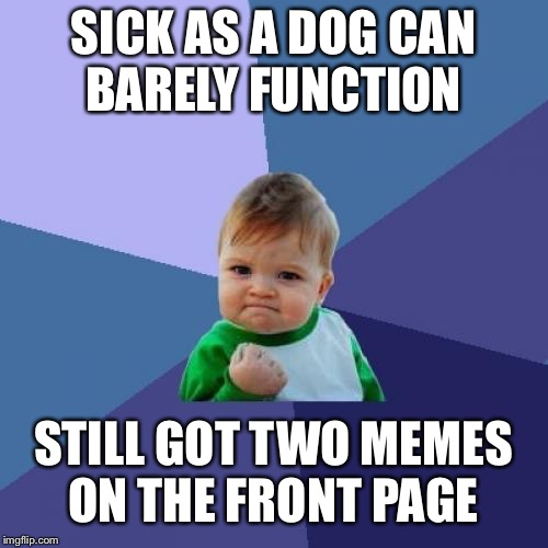 Success Kid Meme | SICK AS A DOG CAN BARELY FUNCTION STILL GOT TWO MEMES ON THE FRONT PAGE | image tagged in memes,success kid | made w/ Imgflip meme maker