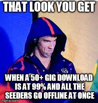 Michael Phelps Death Stare | THAT LOOK YOU GET WHEN A 50+ GIG DOWNLOAD IS AT 99% AND ALL THE SEEDERS GO OFFLINE AT ONCE | image tagged in memes,michael phelps death stare | made w/ Imgflip meme maker