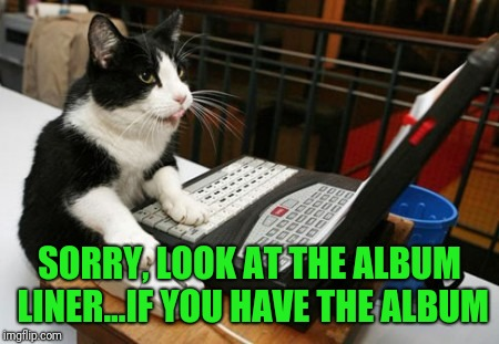 Fact Cat | SORRY, LOOK AT THE ALBUM LINER...IF YOU HAVE THE ALBUM | image tagged in fact cat | made w/ Imgflip meme maker