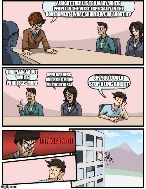 "Boardroom Meeting Suggestion Meme | ALRIGHT THERE IS TOO MANY WHITE PEOPLE IN THE WEST ESPECIALLY IN THE GOVERNMENT , WHAT SHOULD WE DO ABOUT IT? COMPLAIN ABOUT ""WHITE PRIVILEG 