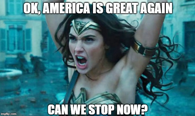 Ever wonder when it will end? | OK, AMERICA IS GREAT AGAIN CAN WE STOP NOW? | image tagged in wonder woman rage,memes | made w/ Imgflip meme maker
