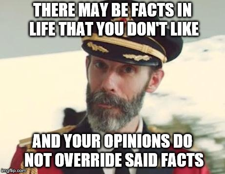 Captain Obvious | THERE MAY BE FACTS IN LIFE THAT YOU DON'T LIKE AND YOUR OPINIONS DO NOT OVERRIDE SAID FACTS | image tagged in captain obvious | made w/ Imgflip meme maker
