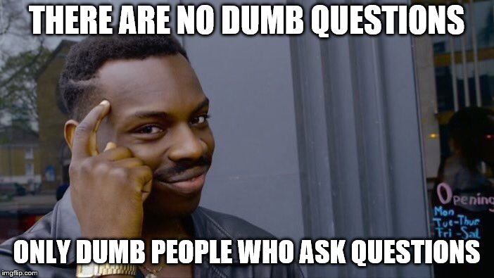 Roll Safe Think About It Meme | THERE ARE NO DUMB QUESTIONS ONLY DUMB PEOPLE WHO ASK QUESTIONS | image tagged in memes,roll safe think about it | made w/ Imgflip meme maker