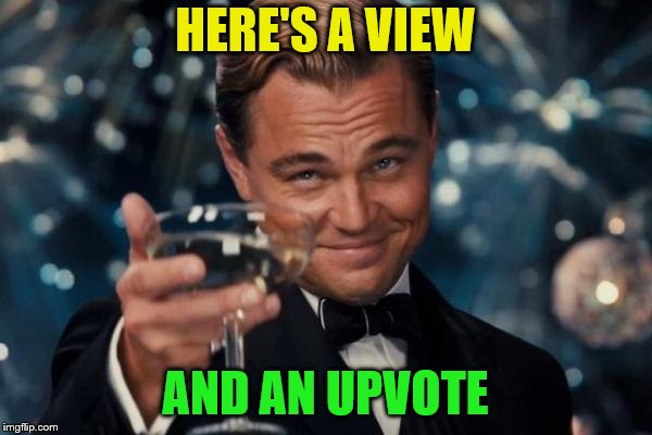 Leonardo Dicaprio Cheers Meme | HERE'S A VIEW AND AN UPVOTE | image tagged in memes,leonardo dicaprio cheers | made w/ Imgflip meme maker